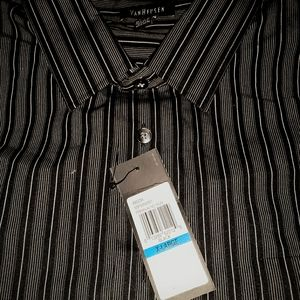 VAN HEUSEN  L BROWN&WHITE SHORT SLEEVE DRESS SHIRT